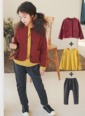 "<font color=#8e5b69><font color=#8c4458>*</font> JKIDS 2016 F / W *</font> <br> Cardigan raising three kinds SET <br> <font color=""#9f9f9f"">♡ ♡ cardigan + T-shirt + pants <br> Set of 3 items!</font>"