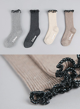 <font color=#8e5b69>* JKIDS 2016 *</font> <br> Bling ruffle socks