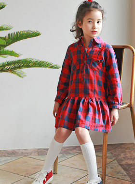 "<font color=#4bb999>* JKIDS 2017 S / S *</font> <br> Sweet School Dress <br> <font color=""#9f9f9f"">♡ ♡ cute, checkered pattern <br> Practical roll-up sleeves!</font>"