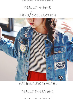 "<font color=#4bb999>* JKIDS 2017 S / S *</font> <br> Rock chic denim jacket <br> <font color=""#9f9f9f"">♡ ♡ point pop Wapenamanda <br> Wanso denim jacket!</font>"