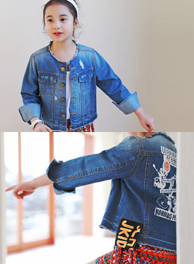 "<font color=#4bb999>* JKIDS 2017 S / S *</font> <br> Riben denim jacket <br> <font color=""#9f9f9f"">Big printing back ♡ <br> Wide sleeves rolled up!</font>"