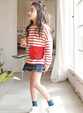 "<font color=#4bb999>* JKIDS 2017 S / S *</font> <br> Shirley Pocket Tee <br> <font color=""#9f9f9f"">* Chic Stripe! * <br> * Cute, cross pockets! *</font>"