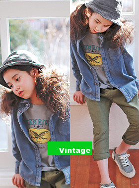 "<font color=#4bb999>* JKIDS 2017 S / S *</font> <br> ♡ ♡ pitch cotton shirts <br> Vintage Blue <br> <font color=""#9f9f9f"">Ganjeolgi must-haves!</font>"