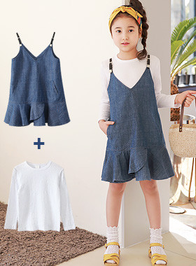 "<font color=#4bb999>* JKIDS 2017 S / S *</font> <br> Ariel dress SET <br> <font color=""#9f9f9f"">* * Tomboy denim dress <br> * SET up t-shirts! *</font>"