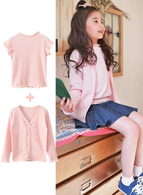 "<font color=#4bb999>* JKIDS 2017 S / S *</font> <br> Mont jyuti CardiganSET <br> <font color=""#9f9f9f"">Popular Delicate pink ♡ ♡ <br> Perfect T-Shirt + Cardigan = SET!</font>"