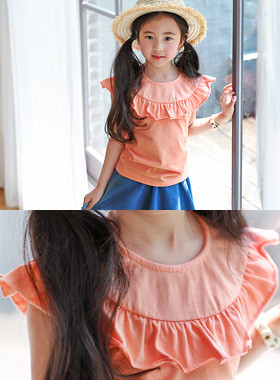 "<font color=#4bb999>* JKIDS 2017 S / S *</font> <br> Queen Frilly Cape Tee <br> <font color=""#9f9f9f"">♡ Romantic frills line ♡ <br> Large orange color!</font>"