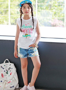 "<font color=#4bb999>* JKIDS 2017 S / S *</font> <br> Adventure sleeveless tee <br> <font color=""#9f9f9f"">♡ Printable ♡ <br> Pleasant cotton material!</font>"