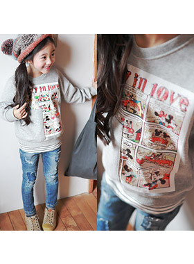 """<font color=#edb200>* JKIDS 2017 F / W *</font> <br> Cartoon Mickey Mouse <br> <font color=""""#9f9f9f"""">* Vintage Cartoon Printing * <br> * Sexy look is best! *</font>"""