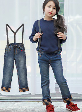 "<font color=#edb200>* JKIDS 2017 F ​​/ W *</font> <br> Kingdom Suspenders Denim Pants <br> <font color=""#9f9f9f"">♡ My sweet pants <br> Check pattern hem roll!</font>"