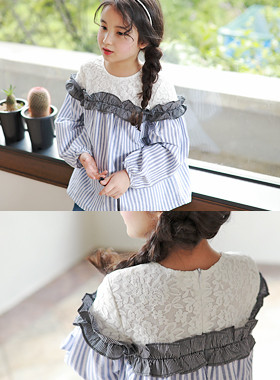"<font color=#edb200>* JKIDS 2017 F ​​/ W *</font> <br> Eyelet ST blouse <br> <font color=""#9f9f9f"">♡ Volume banding ♡ <br> Lovely Race + Freel!</font>"