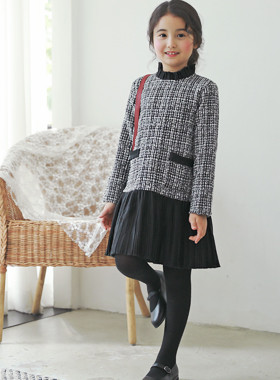 """<font color=#edb200>* JKIDS 2017 F / W *</font> <br> Lynn Tweed One Piece <br> <font color=""""#9f9f9f"""">♡ Special day shines even more ♡ <br> Luxurious Tweed!</font>"""