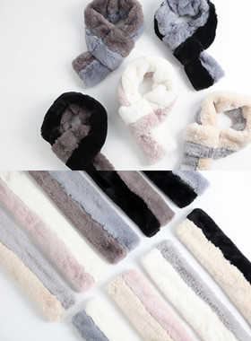 <font color=#edb200>* JKIDS 2017 *</font> <br> Two-tone fur muffler