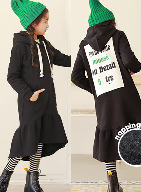 """<font color=#edb200>* JKIDS 2017 F / W *</font> <br> Frix hooded brushed dress <br> <font color=""""#9f9f9f"""">♡ Lovely unfurled ruffle ♡ <br> > Warmth ~ napping lining!</font>"""