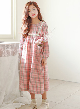 "Alps check dress <br> <font color=""#9f9f9f"">♡ Lovely pink check pattern ♡ <br> Cute and comfortable baby pit!</font>"