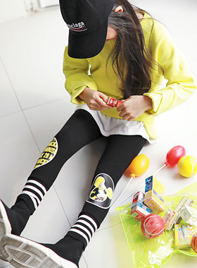 """Rib Hem Mickey Leggings <br> <font color=""""#9f9f9f"""">* Eye-catching leggings - <br> * Look for the ears popping point! *</font>"""