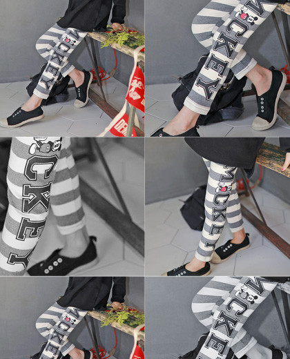 """Mickey Mouse leggings <br> <font color=""""#9f9f9f"""">* Mochimochi ♥ I'm comfortable * <br> * Cute Point Daily Leggings *</font>"""