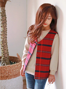 """Everyday Check Snap Vest <br> <font color=""""#9f9f9f"""">♡ Sophisticated Red Check ♡ <br> Took it everywhere!</font>"""