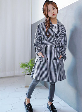 """Gingham Double Trench Coat <br> <font color=""""#9f9f9f"""">♡ Essential Items ♡ <br> Always loved!</font>"""