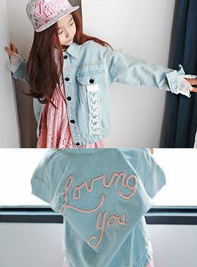 "Rabbit Lace Denim Jacket <br> <font color=""#9f9f9f"">* Lace decoration removable ♥ * <br> * Boys and girls are also denim jacket *</font>"