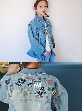 """Popup embroidered denim jacket <br> <font color=""""#9f9f9f"""">Embroidery ♡ <br> Vintage Scratch!</font>"""