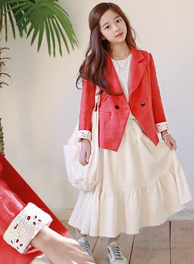 "Logitech lace linen jacket <br> <font color=""#9f9f9f"">♡ Lovely race ♡ <br> Bright red color!</font>"