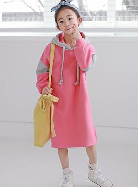 "Peeling hood dress <br> <font color=""#9f9f9f"">♡ Popular pink pink ♡ <br> Sense color hood!</font>"
