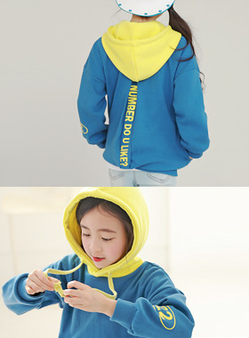 """Like number hood man-to-man <br> <font color=""""#9f9f9f"""">♡ cute color combination hood ♡ <br> A cool back!</font>"""