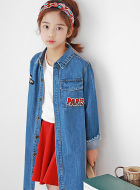 "Paris Long Denim Jacket <br> <font color=""#9f9f9f"">♡ English patch point ♡ <br> Cut the trendy sleeve!</font>"