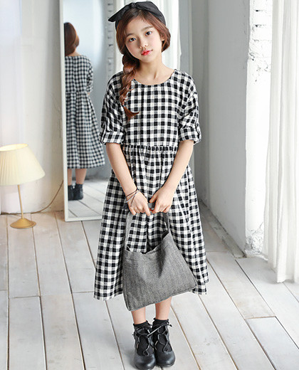 """Caroline Check Dress <br> <font color=""""#9f9f9f"""">* ♡ Girl Girl One Piece ♡ * <br> * It is easy to feel the long length! *</font>"""