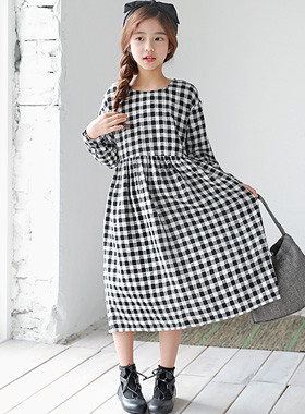 "Caroline Check Dress <br> <font color=""#9f9f9f"">* ♡ Girl Girl One Piece ♡ * <br> * It is easy to feel the long length! *</font>"