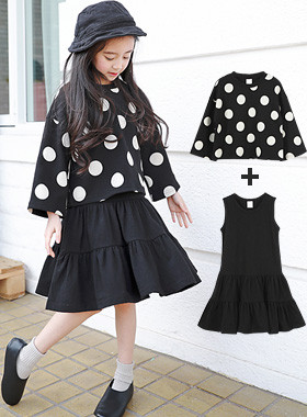 "Complete dot dress SET <br> <font color=""#9f9f9f"">♡ Sleeveless Dress + Dot T-shirt Set ♡ <br> Casual yet gully set items !!</font>"