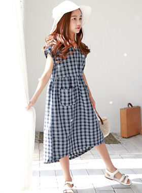 "Pico Check Dress <br> <font color=""#9f9f9f"">* Loose and free * <br> * Simple Styling Daily Dress *</font>"