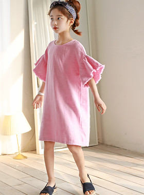 "Pio Ruffle Dress <br> <font color=""#9f9f9f"">♡ Wide Ruffle Sleeves ♡ <br> Popular pink pink!</font>"