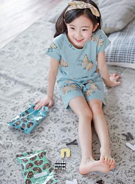 """Dinosaur gown <br> <font color=""""#9f9f9f"""">♡ Lovely color ♡ <br> Children popular dinosaur printing!</font>"""