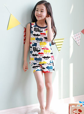 "Inda Sleeveless Dressing Gown <br> <font color=""#9f9f9f"">♡ The combination of plump colors ♡ <br> Boy girl I feel easy to wear!</font>"