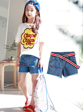 "Lettering Denim Shorts Pants (BeltSET) <br> <font color=""#9f9f9f"">* Versatile Summer Styling Pants * <br> Lettering embroidery points!</font>"