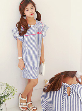 "Happy Day Mini Dress <br> <font color=""#9f9f9f"">♡ Awesome Lovely Sleeves ♡ <br> Cool Blue Stripe!</font>"