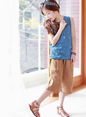 "Must go linen pants <br> <font color=""#9f9f9f"">♡ Trendy wide pants ♡ <br> Cool linen material!</font>"
