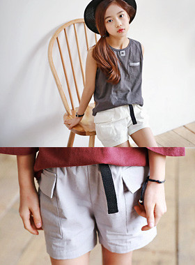 "Belted pocket pants <br> <font color=""#9f9f9f"">♡ Fake belt with a sense ♡ <br> I want it by color!</font>"