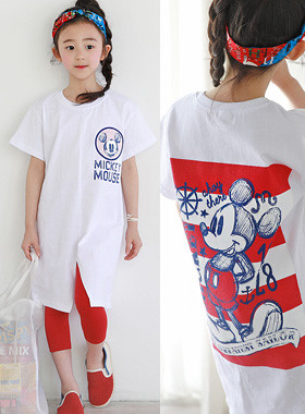 "Mickey's front slit dress <br> <font color=""#9f9f9f"">* Simple styling * <br> Mickey Printing</font>"