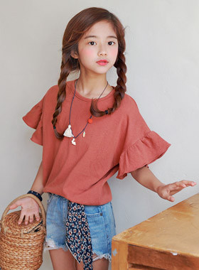 "Aliofuryll tea <br> <font color=""#9f9f9f"">♡ Romantic Ruffle Sleeves ♡ <br> * Comfortable loose fit line *</font>"