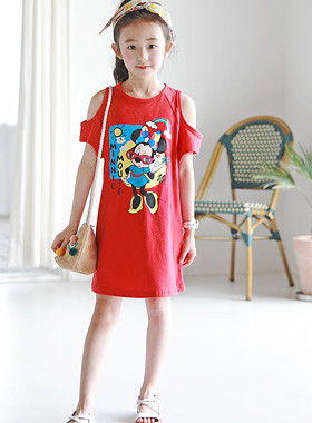 "Minichu Off shoulder dress <br> <font color=""#9f9f9f"">♡ Lovely Mini Mouse Character ♡ <br> Off-the-shoulder design!</font>"