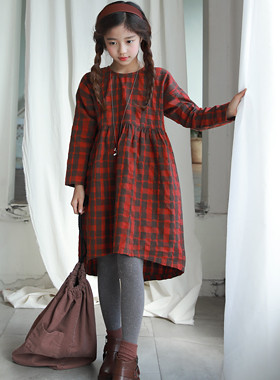 "Blandy Ripple Dress <br> <font color=""#9f9f9f"">♡ comfortable loose fit line ♡ <br> * Tone down red check *</font>"