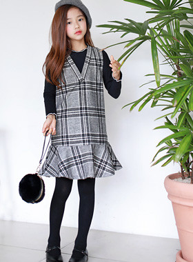 "Classic Check Dress SET <br> <font color=""#9f9f9f"">♡ Perfect coordination complete SET ♡ <br> * Crispy Yoko Frill Line *</font>"