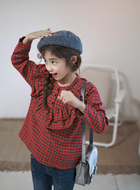 "Touran check blouse <br> <font color=""#9f9f9f"">* ♡ Balanced Balal Check Pattern ♡ * <br> * Matches with various bottoms *</font>"