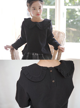 "Billon frilly blouse <br> <font color=""#9f9f9f"">* ♡ Comfortable Daily Blouse ♡ * <br> * Lovely rounded ruffle collar *</font>"