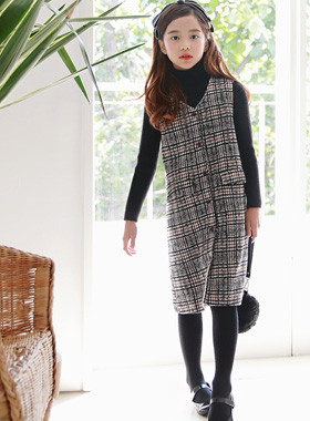 "Babylon Check Wool Dress <br> <font color=""#9f9f9f"">♡ Slim ~ Simple line ♡ <br> * Front line button key point *</font>"