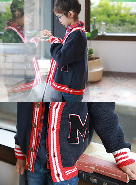 "Day knit cardigan <br> <font color=""#9f9f9f"">* Neat M patch point and * <br> Navy and Red Color Match</font>"