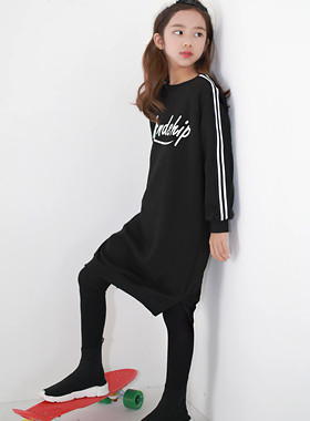 "Friendship One-Piece Dress <br> <font color=""#9f9f9f"">♡ Chic Black One Piece ♡ <br> * Two-line sleeve key point *</font>"