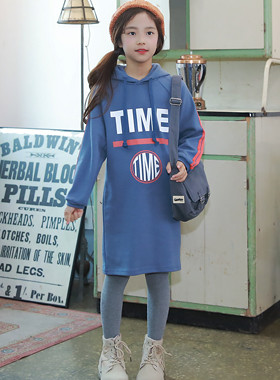 "Time hood dress <br> <font color=""#9f9f9f"">♡ practical hood line ♡ <br> * Cool Big Printing *</font>"
